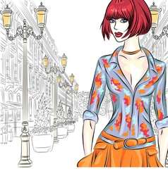 Fashion girl in st petersburg vector