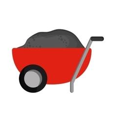 filled wheelbarrow icon vector image