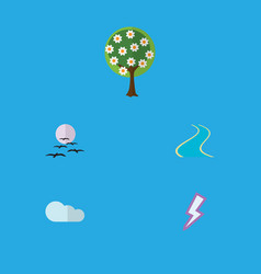 Flat icon ecology set of lightning overcast vector