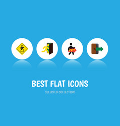 flat icon emergency set of directional exit open vector image vector image