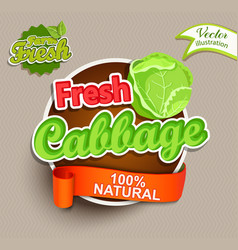 Fresh cabbage logo lettering vector