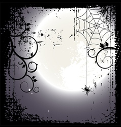 Halloween background - a spider on a cobweb vector image vector image