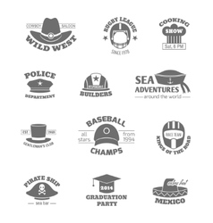 Hat professions stamps vector