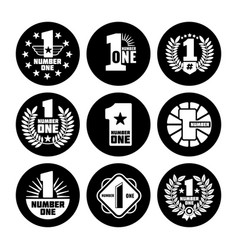 Number one labels on black icons vector