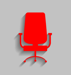 Office chair sign red icon with soft vector