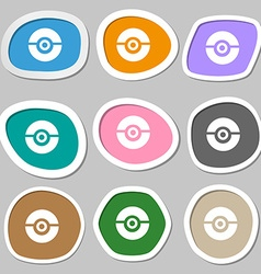 Pokeball icon symbols multicolored paper stickers vector