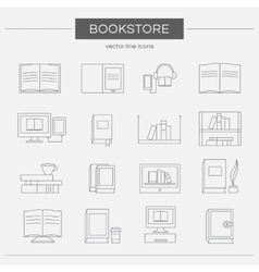 Set of line icons for a bookstore vector