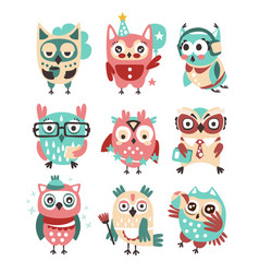 Stylized design owls emoji stickers collection of vector