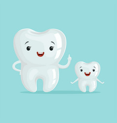 two cute healthy white cartoon teeth characters vector image
