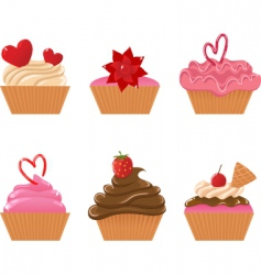 valentine cupcakes vector image vector image