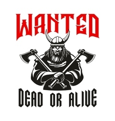 Wanted dead or alive warrior sign vector image vector image