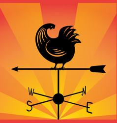 Weathervane - running rooster vector