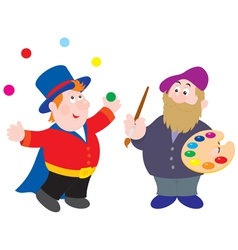 Magician and painter vector