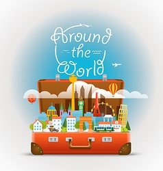 Dirrefent world famous sights travel aroun vector