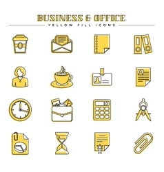 Business and office yellow fill icons set vector image