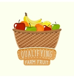 Painted logo design of full fruit basket with vector