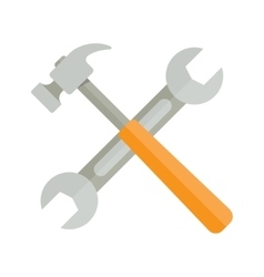 Wrench and hammer on white background vector