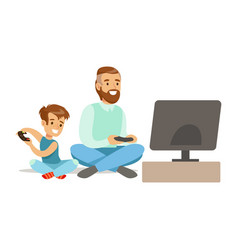 Father and boy sitting on the floor with joysticks vector