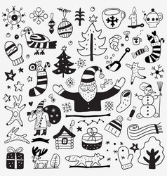 winter doodles set vector image