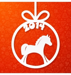 White paper Christmas ball with horse and year vector image