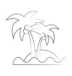 Sea island beach palms vector