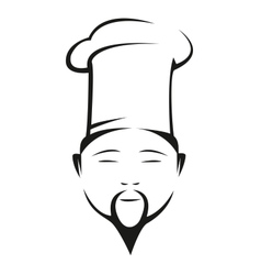 Oriental chef in a traditional white toque vector
