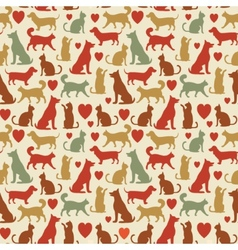 Seamless pattern with cats and dogs vector