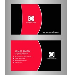 Business card black and red vector