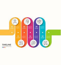 6 steps winding colorful timeline infographic vector image vector image