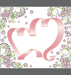 two ribbon hearts with floral background vector image