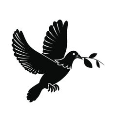 Dove of peace flying with twig olive icon vector