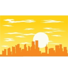 Silhouette of building and sun vector