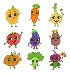 Vegetables cartoon characters set vector