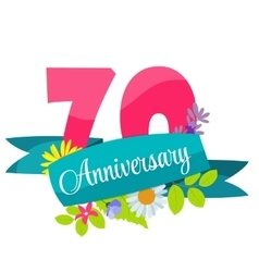 Cute template 70 years anniversary sign vector