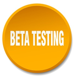 Beta testing orange round flat isolated push vector