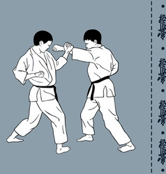 Men demonstrate karate hieroglyph of karate vector image