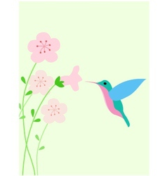 Hummingbird with red flower vector