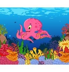 Funny octopus cartoon with beauty sea life backgro vector