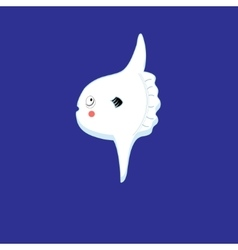 White fish moon vector