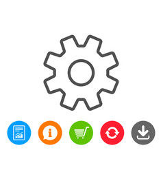 Cogwheel line icon service sign vector