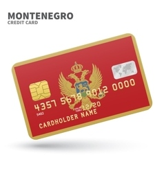 Credit card with Montenegro flag background for vector image vector image