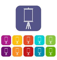 Easel icons set flat vector