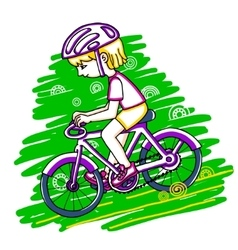 Edit girl on a bicycle color drawing vector