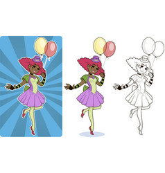 Female clown circus character vector