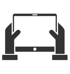 Hands hold tablet flat icon vector