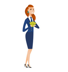 Happy caucasian stewardess holding money vector