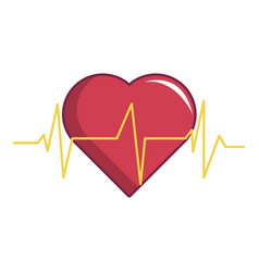 Heart beat icon cartoon style vector