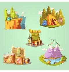 Hiking Cartoon Set vector image
