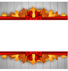 holiday banner on wooden wall with autumn leaves vector image
