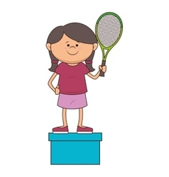 kid tennis sport player icon vector image